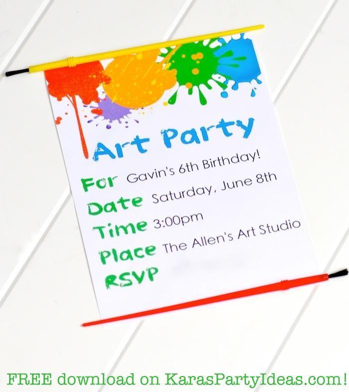 Art Party Invitations on Pinterest | Art Party, Art ...