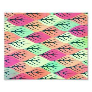 Bright Girly Pink Teal Abstract Leaves Pattern Photograph
