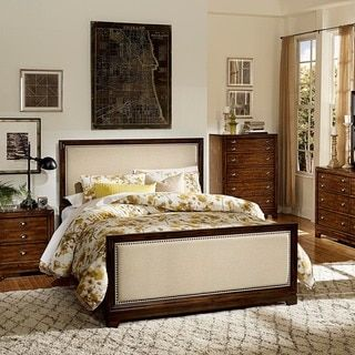 shop for oliver cherry nailhead trim bed get free shipping at