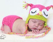 Newborn to 3 monthsSleepy Owl Hat/Diaper Cover Set The Original Hot Pink and Green Photography Prop fully customizable