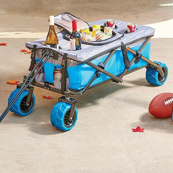 The Folding All Terrain Wagon And Cooler Table Transforms