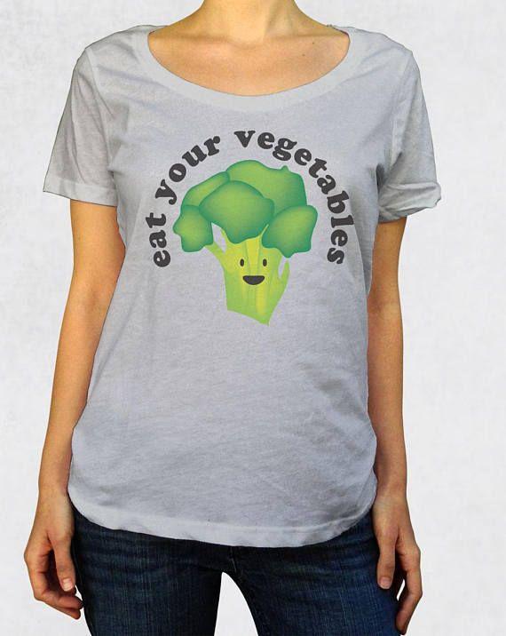 72d142b5c Eat Your Vegetables, Happy broccoli shirt for women, Ladies healthy veggie  vegan vegetarian paleo scoop neck tee.
