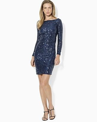 4e64c606dded Lauren Ralph Lauren Long Sleeve Sequin Cocktail Dress ...