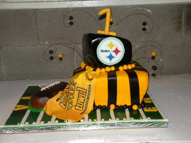 square topsy turvy steelers first birthday cake Cake ideas