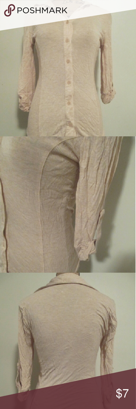 Cream button down shirt Cream 3 quarter sleeve button down shirt. Only been worn a couple times. No holes no stains Zenana Outfitters Tops Button Down Shirts