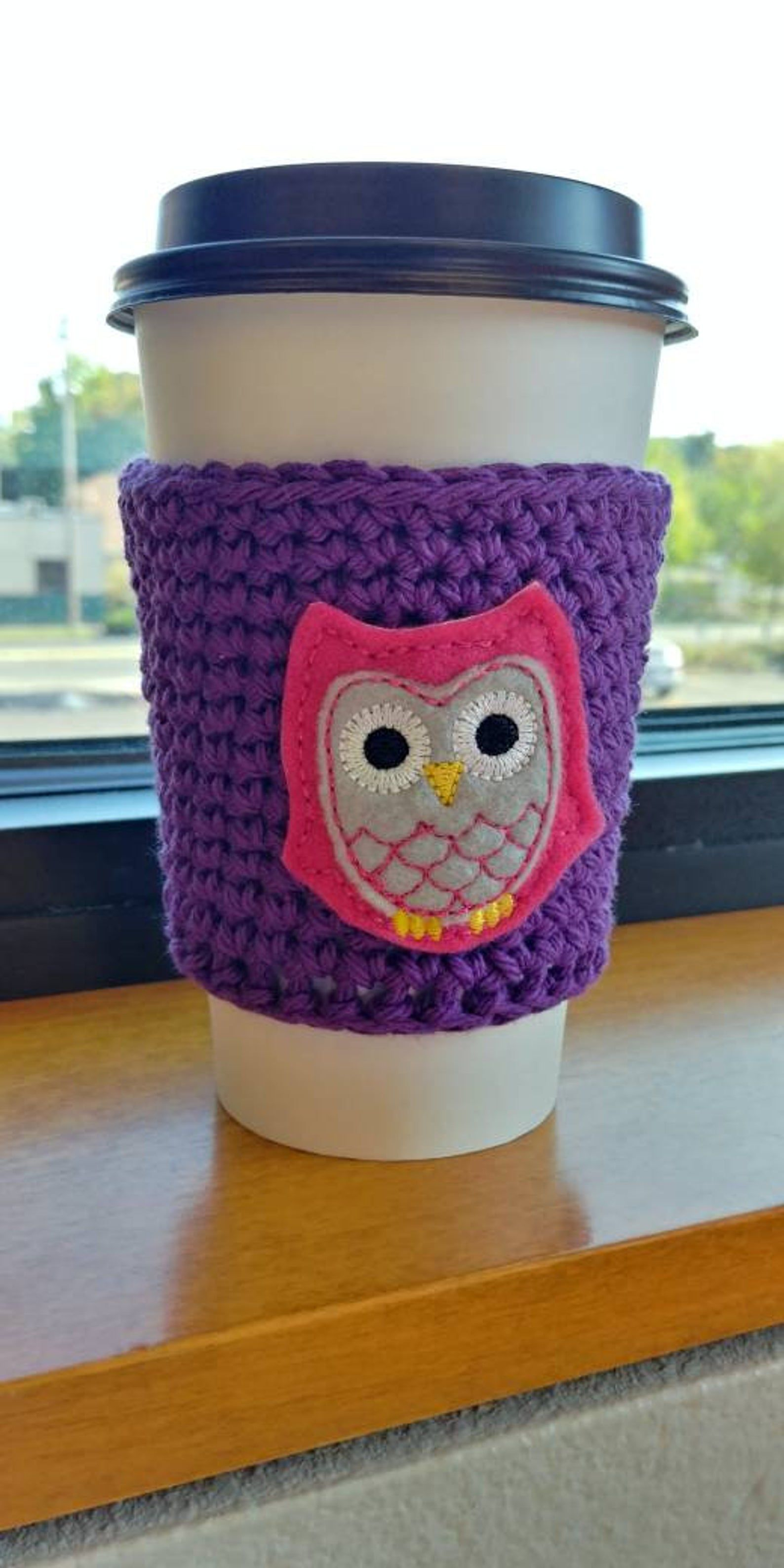 Crochet coffee sleeve teacher gift owl lover gift coffee