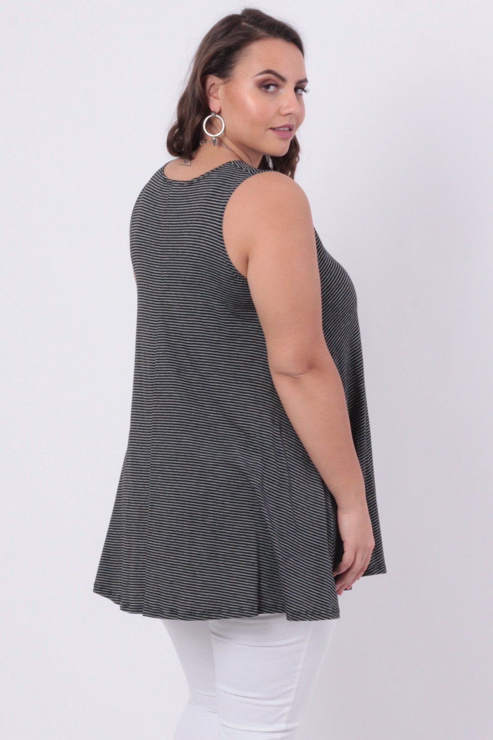 Plus Size Striped Flared Top - Black