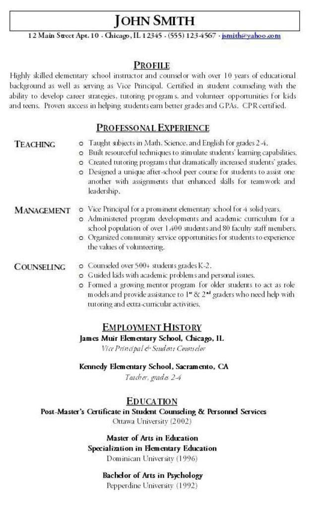 2015 sample teacher resume