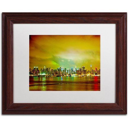 trademark fine art city skyline canvas art by preston white mat wood frame size - Wood Frames For Canvas Paintings