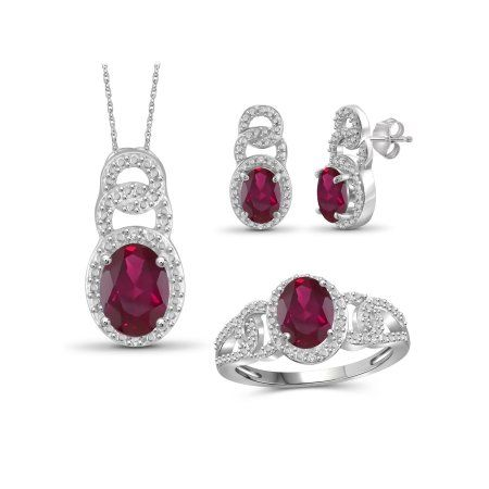 f37a716e9 JewelersClub 5 1/2 Carat T.G.W. Ruby And White Diamond Accent Sterling  Silver 3-Piece Jewelry set