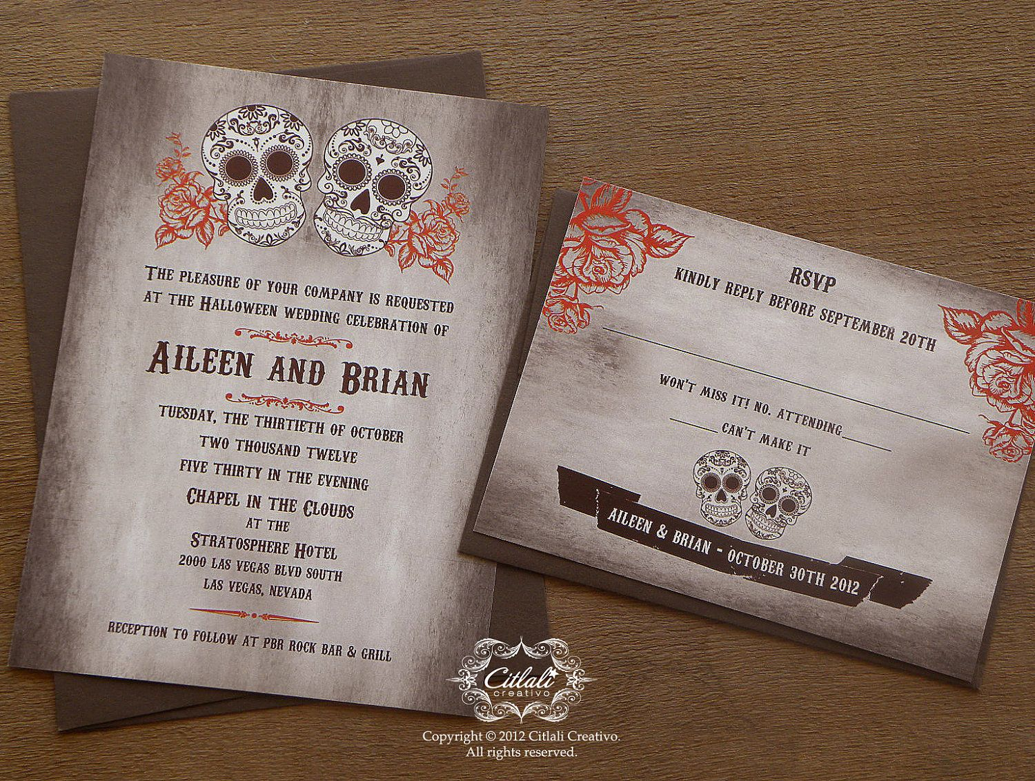 Brown Orange Day Of The Dead Rose Wedding Invitations Dia De Los
