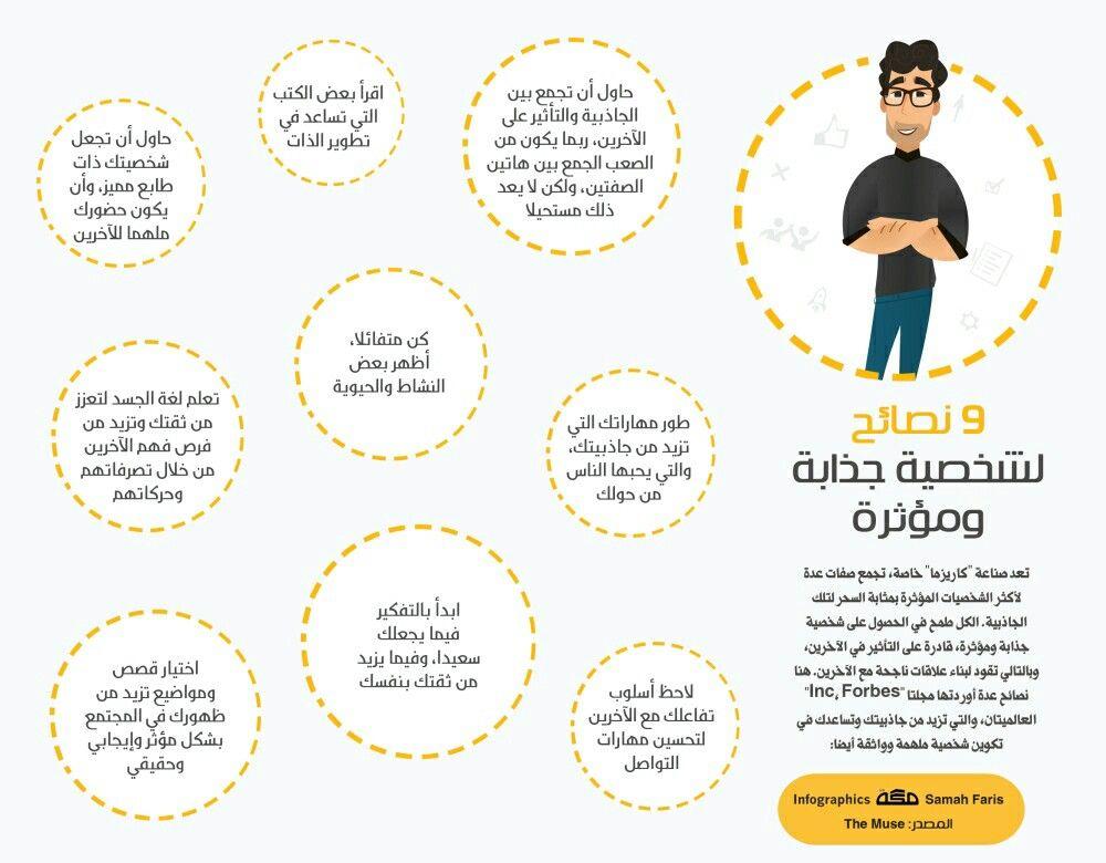 ٩ نصائح لشخصية جذابة ومؤثرة Positive Notes Infographic Personal Development