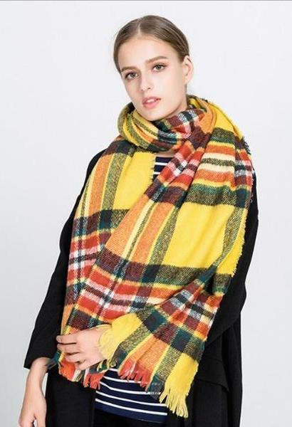3799a8e3a7db0 2017 New Style Winter Warm Plaid Scarf For Women Colorful Tassel Stripe  Scarves Large Size Soft Russian Thick Shawls and Wraps