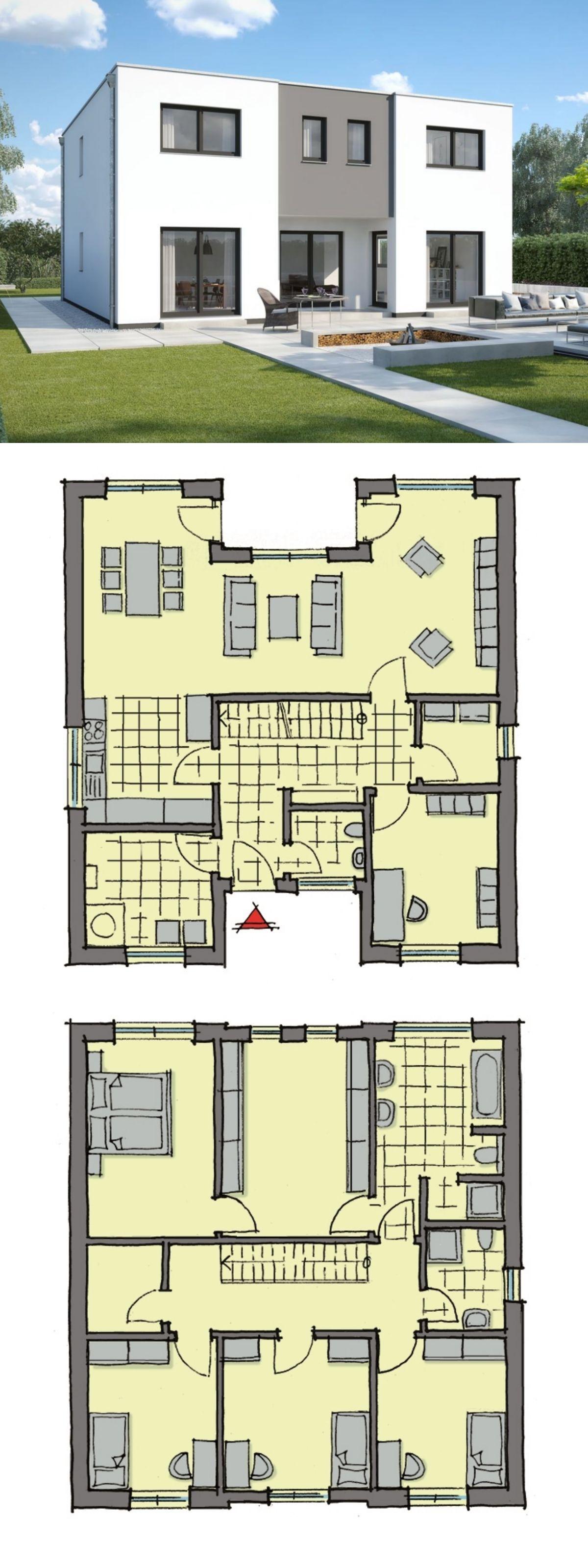 Grundriss Stadtvilla Landhaus mediterran mit Walmdach