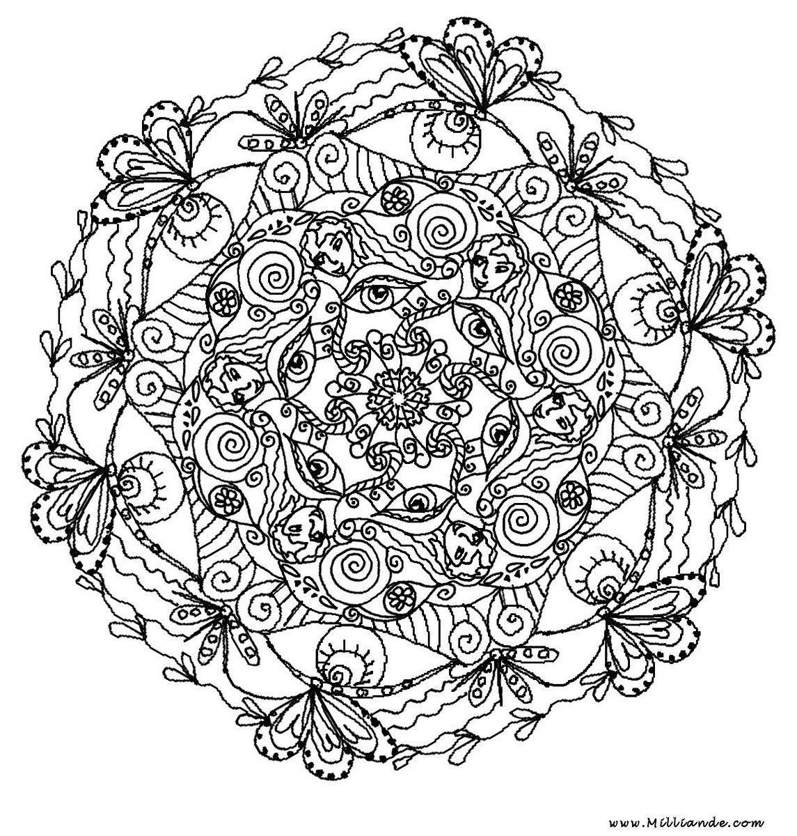Butterfly coloring page symmetry - Center Yourself With Mandalas Coloring Pages