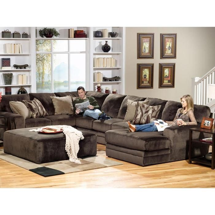 Everest 3 Piece Sectional And Ottoman In Rich Chocolate Nebraska Furniture Mart