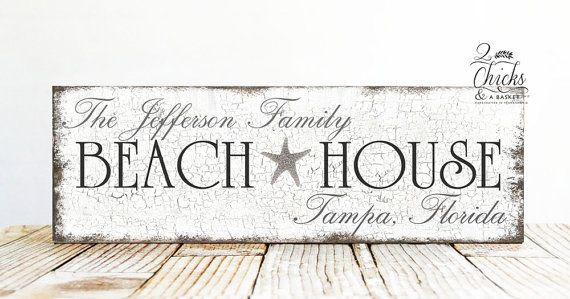 Personalized Family Name Beach House Sign Beach Sign Beach House