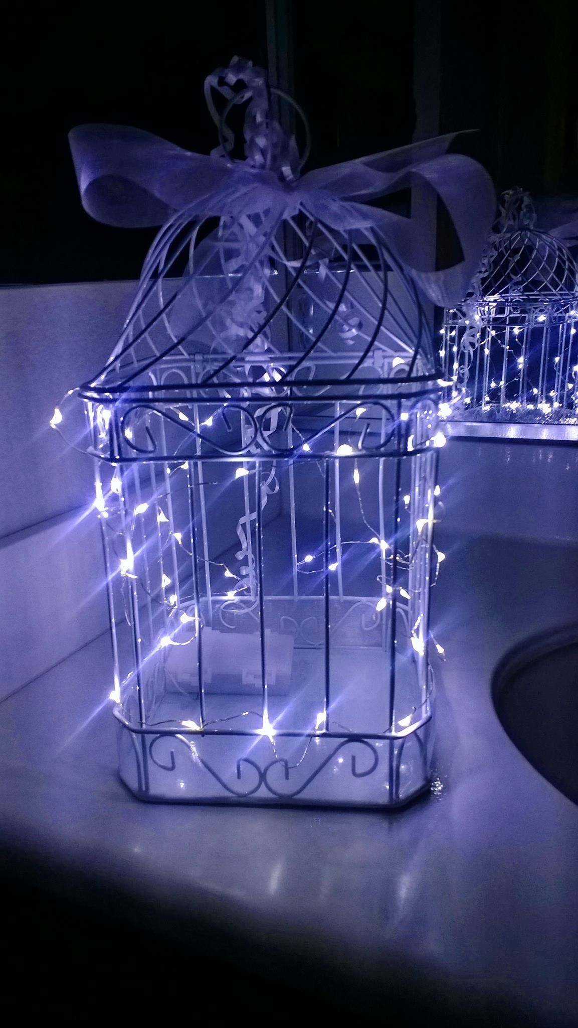 Bird Cage Decorated With Led Lights Perfect For Envelope Cards For