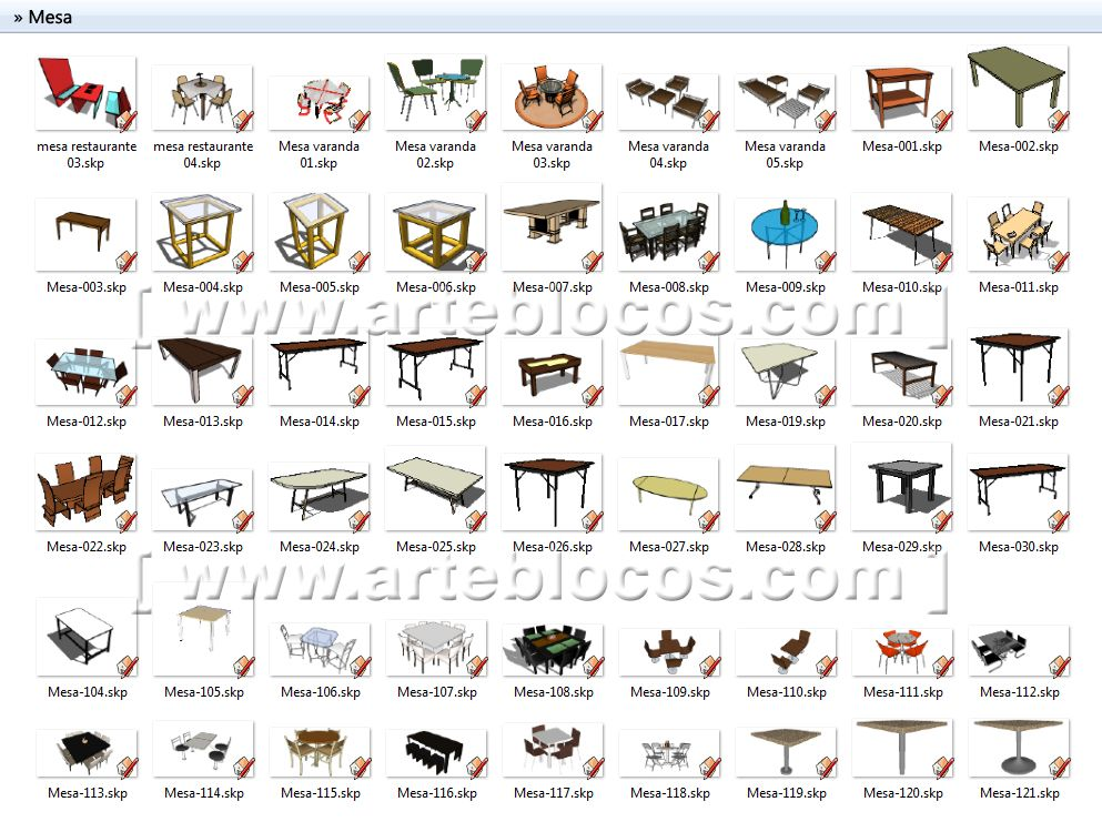 Amostra de blocos sketchup de mesa de jantar restaurante for Mobilia sketchup 8