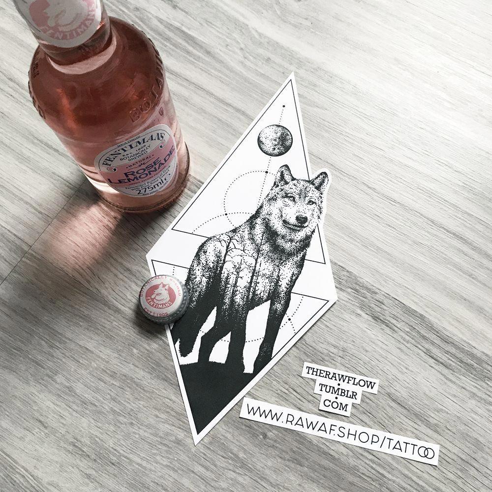 Tattoo Designs Pdf: Dotwork Geometric Wolf Forest Tattoo Design, Full Size PDF