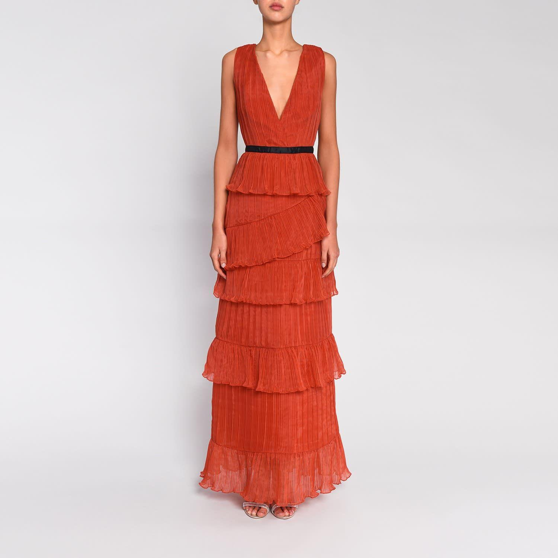 Orange Plunge Front Tulle Layered Maxi Dress True Decadence Wolf Badger Dresses Maxi Dress Wrap Dress [ 1500 x 1500 Pixel ]