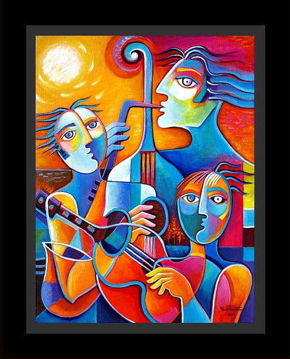 Jazz Trio Original Abstract Cubism Painting Marlina by MarlinaVera