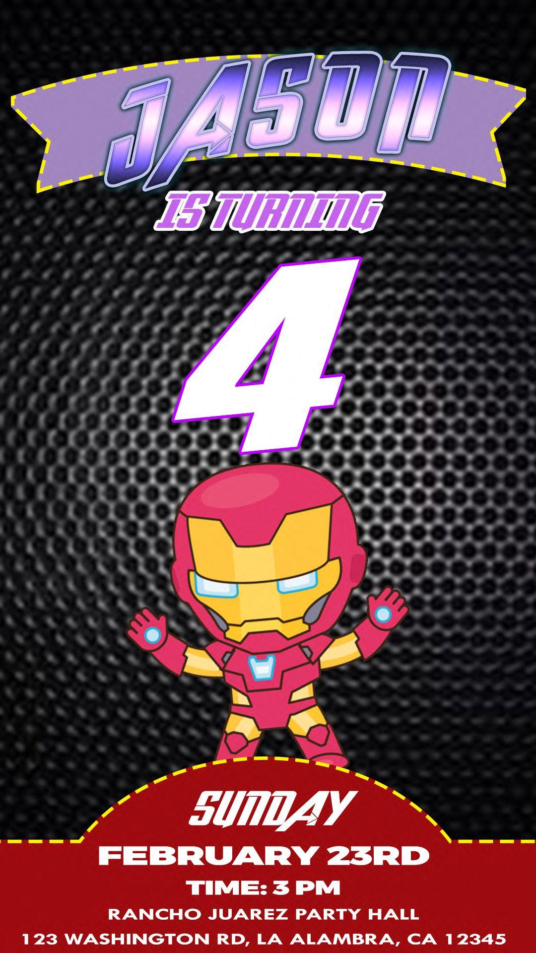 Avengers endgame animated video birthday invitation in