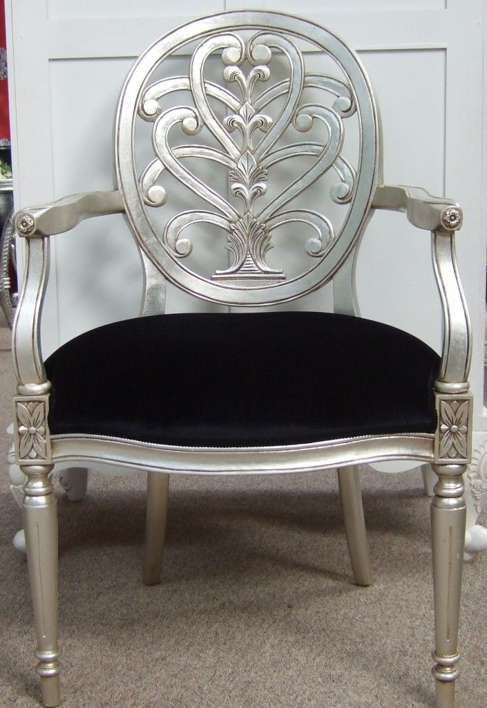 Silver Furniture  Antique Silver Leaf Chairs. RUSTOLEUM CHROME FINISH SPRAY PAINT BEFORE AND AFTER   Refurbished