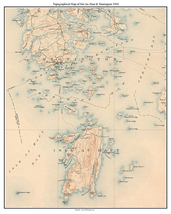 Isle Au Haut & Stonington 1904 Old Topographic Map USGS Custom