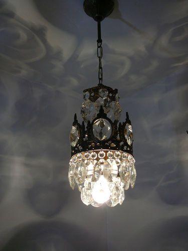Vintage Brass And Crystal Small Basket Chandelier Ebay