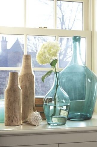Wood Vases And Blue Glass Vases From Target Threshold Collection