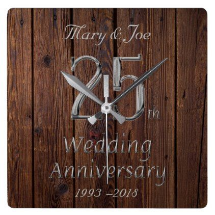 Silver Wedding Anniversary 25th Anniversary Rustic Square Wall Clock Zazzle Com Silver Wedding Anniversary 25th Wedding Anniversary Silver Custom Anniversary Gift