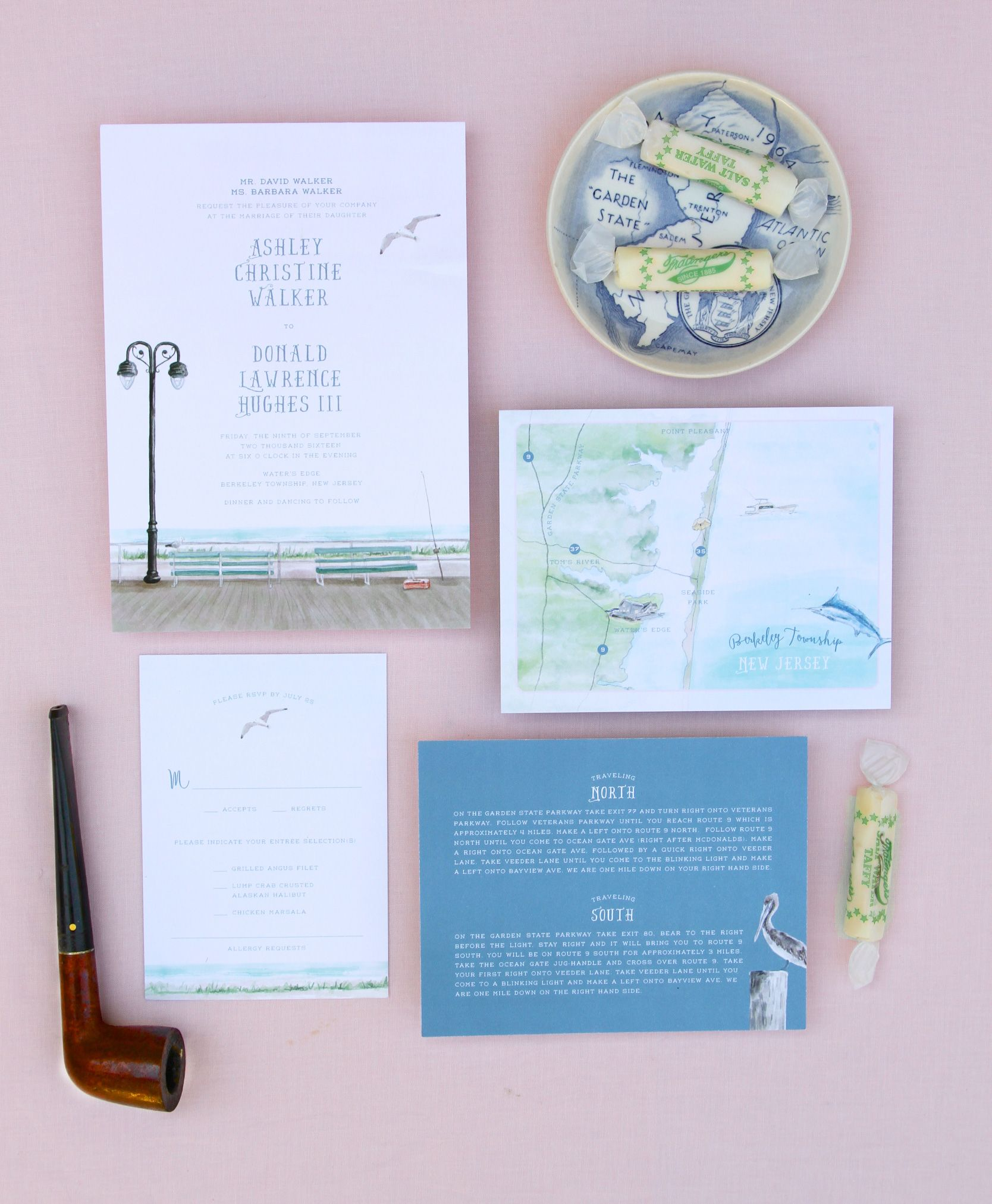 Watercolor Wedding Invitation Of The Boardwalk On The Jersey