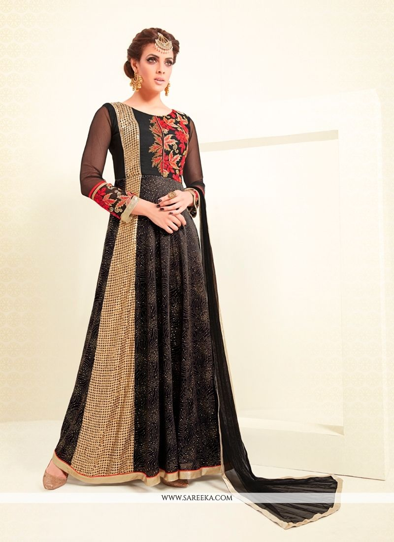An remarkable black georgette and net anarkali salwar kameez will make you appear highly stylish and graceful. The embroidered and resham work looks chic and ideal for any affair. Comes with matching ...