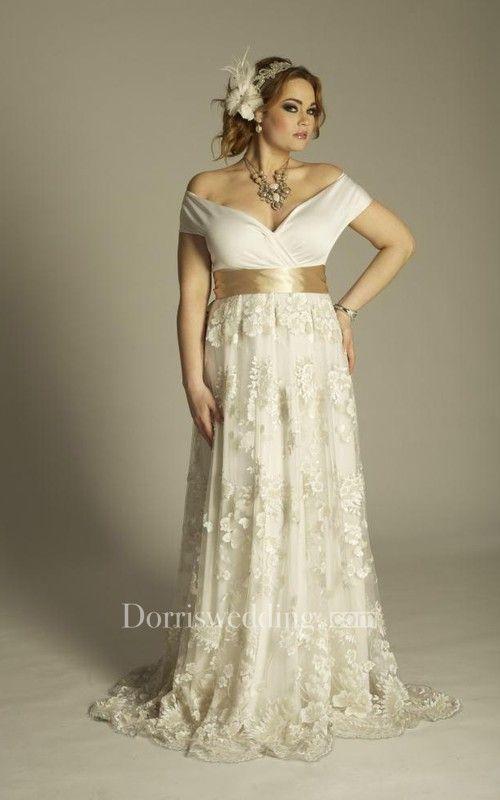 Plus Size Off Shoulder A Line Vintage Lace Floor Length Wedding Gown