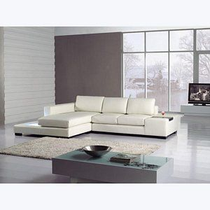 VIG T35 Mini f white Modern Leather Sectional Sofa