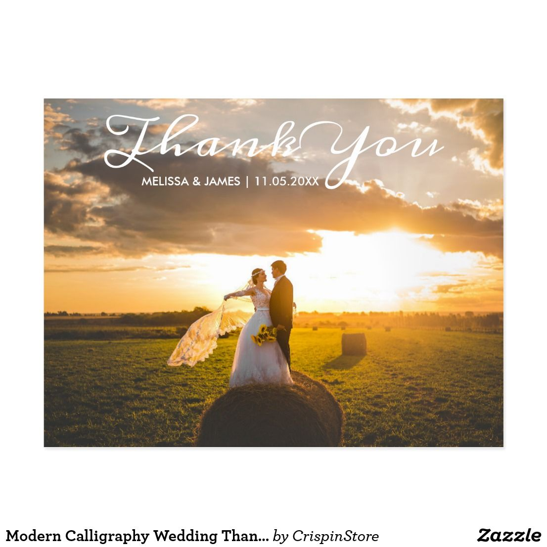 Modern Calligraphy Wedding Thank You Photo Postcard Modern