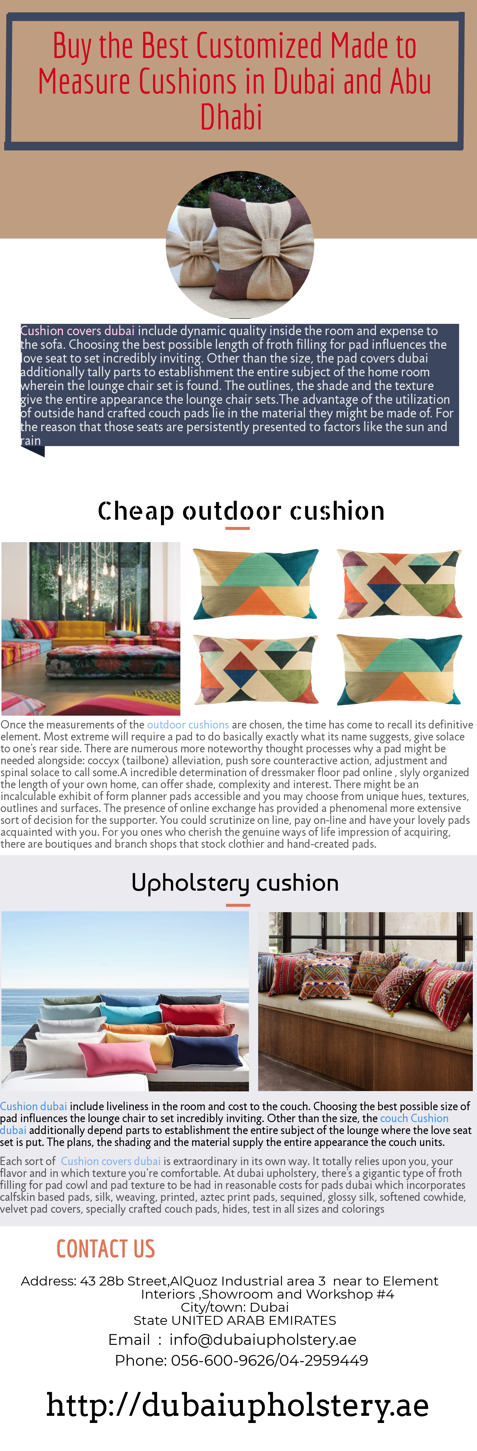 Buy the Best Customized Made to Measure Cushions in Dubai and Abu