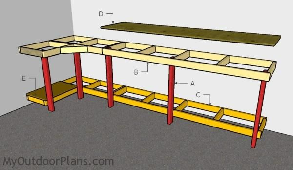 This Step By Diy Woodworking Project Is About Corner Garage Workbench Plans Article Features Detailed Instructions For Building A Sturdy