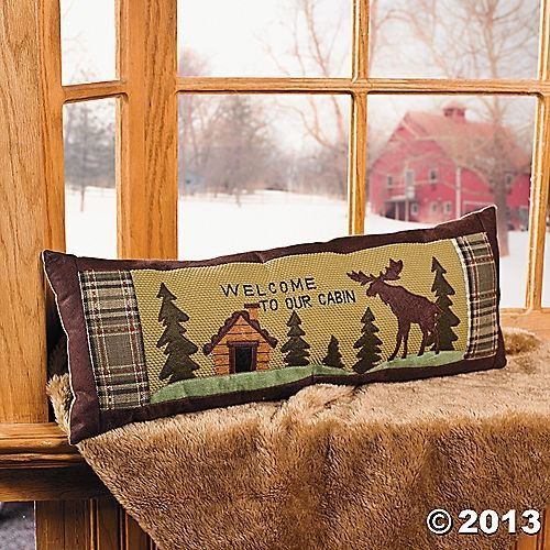 Rustic Moose Welcome to Our Cabin Pillow Home Decor Accent NEW TVI