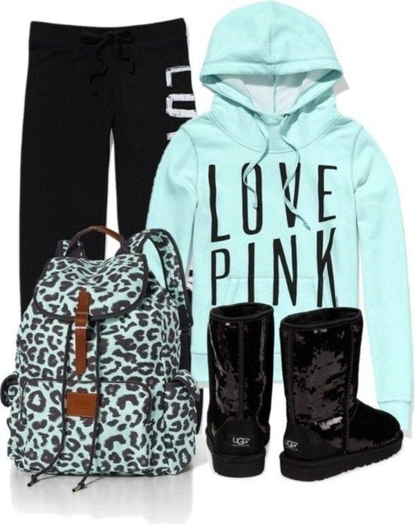 Victoria Secret Pink Outfits | pink sweatpants little black boots winter outfits sparkle victoria ...