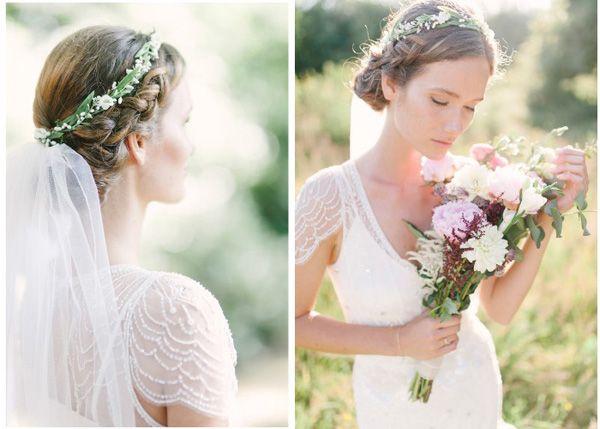 Fryzury ślubne Boho Warkocz Z Welonem I Kwiatami Suknie