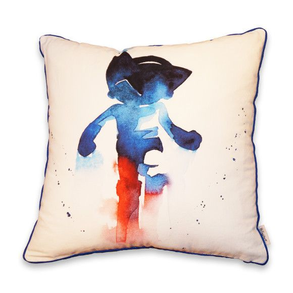 An unique water-coloured cotton and linen cushion for every little boy's bedroom