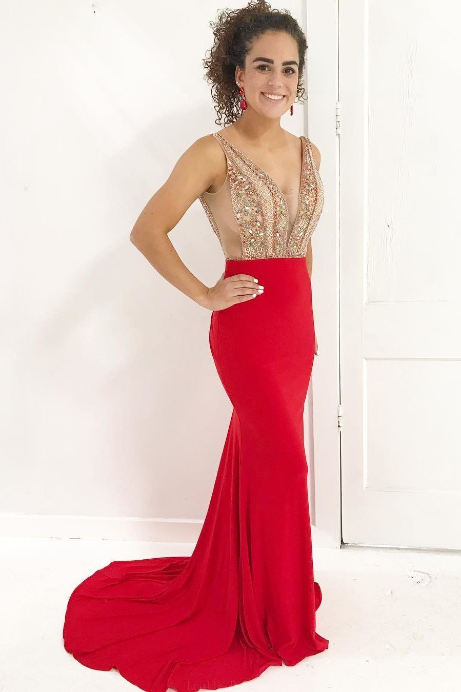 Customized vogue red prom dresses fancy beads red mermaid long