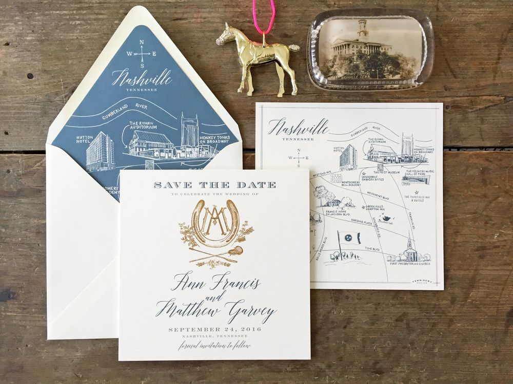 Proper Way To Stuff Wedding Invitations: Nashville Map Save The Date / Francis Wedding In 2019