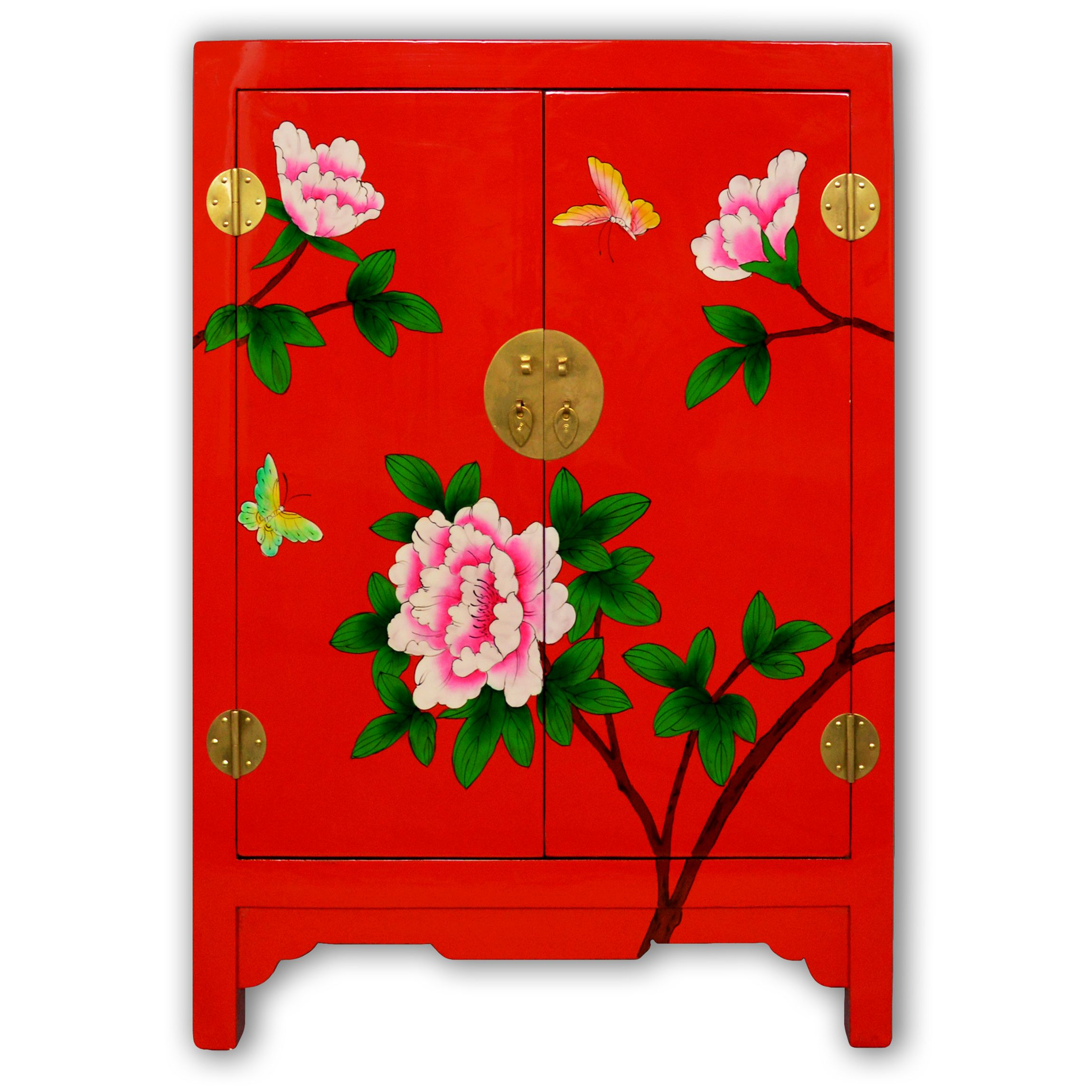 """29"""" Chinese Red Lacquer Floral Painting Cabinet wtih 2 Doors"""