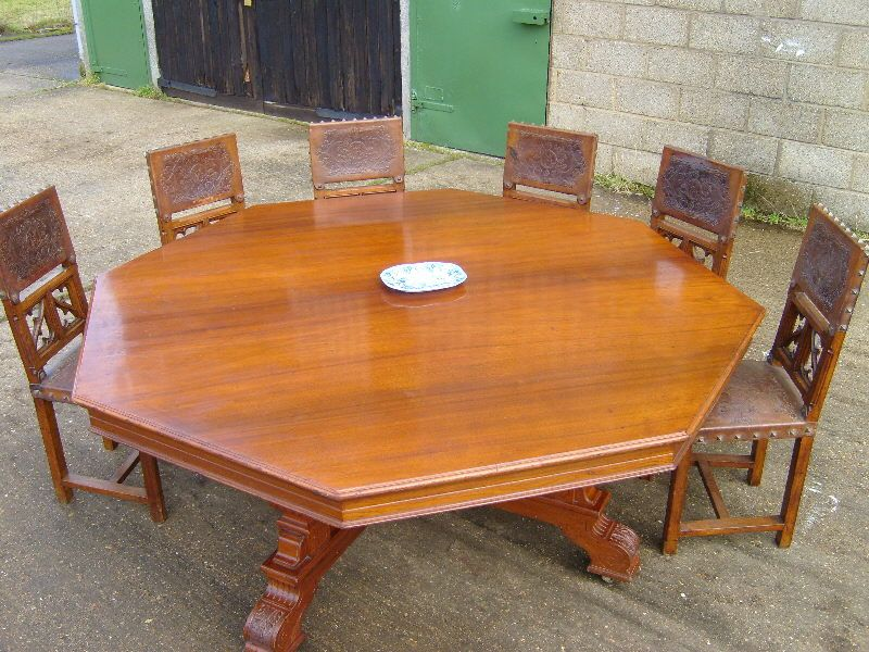 Antique Round Table Huge 6ft Victorian Round Dining Table