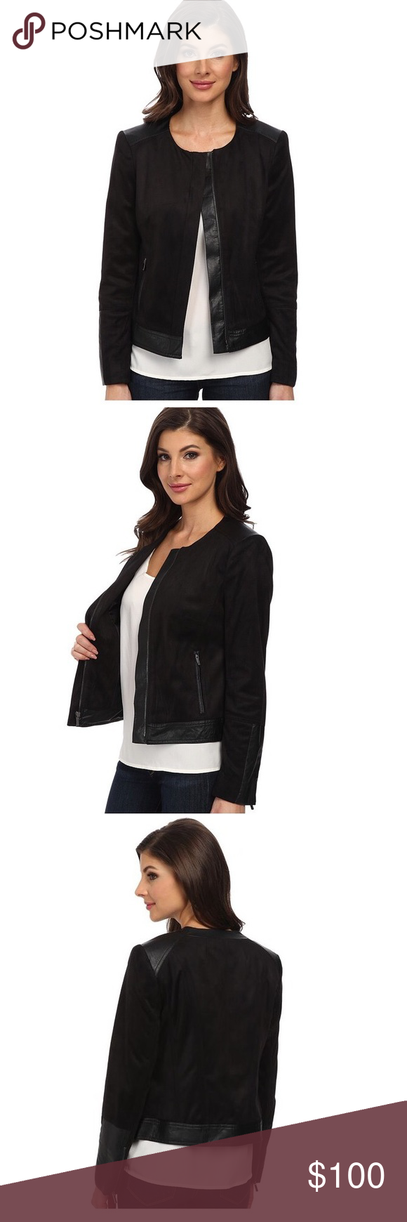 """💥24hr Sale💥 Black Faux Suede Motorcycle Jacket - **Reasonable Offers Welcome - No Trades** -14W Bust: 47"""" - Waist: 37""""- 100% Polyester; Faux Leather: 100% Viscose - Imported - Dry Clean Only - Fully lined - Long sleeve Jones New York Jackets & Coats"""