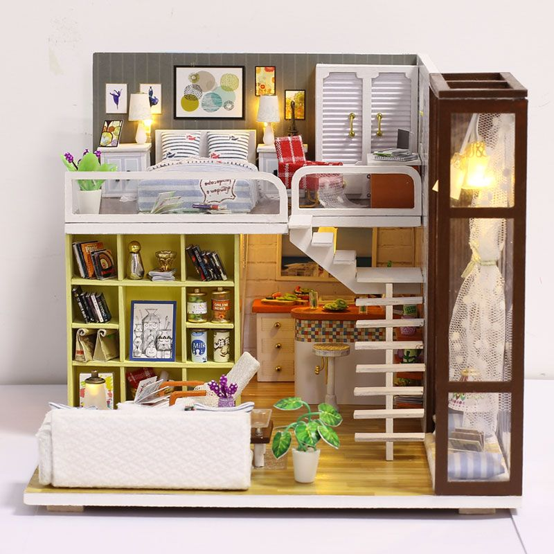 New Doll House Toy Miniature Wooden Doll House Loft With: Tiny Miniature Of Loft Home DIY Kit. New Doll House Toy