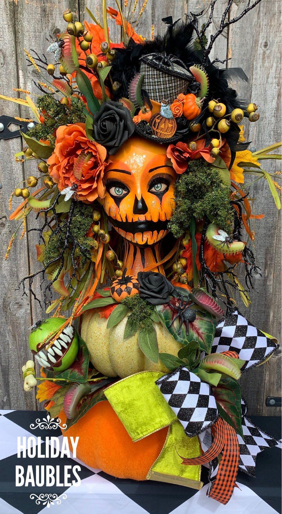 Halloween 2020 Jack O Lantern Head Halloween Centerpiece Spooky Halloween Centerpiece Jack O   Etsy